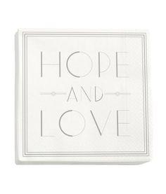 Paperilautasliinat | Valkoinen/Hope and Love | Koti | H&M FI