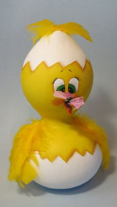 Painted yellow chick in egg shell gourd Easter by MyPaintedSwan