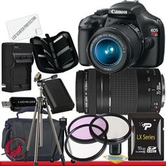 Canon EOS Rebel T3 Digital Camera and 18-55mm IS II & Canon EF 75-300mm f/4-5.6 III Telephoto Zoom Lens Package 2 by Canon. $619.99. Package Contents:  1- Canon EOS Rebel T3 Digital Camera and 18-55mm IS II & Canon EF 75-300mm f/4-5.6 III Telephoto Zoom Lens with all supplied accessories 1- 16GB SDHC Class 10 Memory Card 1- Rapid External Ac/Dc Charger Kit   1- USB Memory Card Reader  1- Rechargeable Lithium Ion Replacement Battery  1- Weather Resistant Carrying Case w/Strap  1...