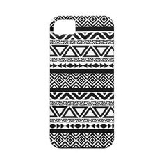 Black White Aztec Tribal Pattern 4 iPhone Case iPhone 5/5S Cases ($50) ❤ liked on Polyvore