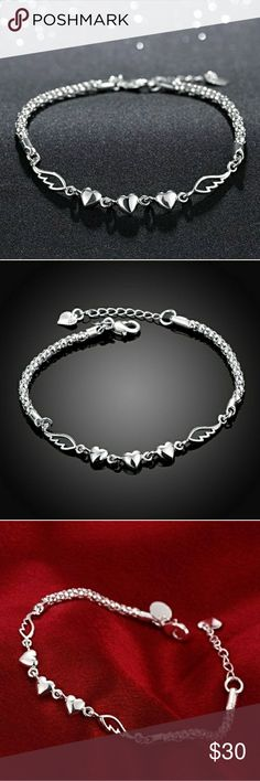 e72195e40d64 925 Sterling sliver love heart charm bracelet Beautiful 925 Sterling sliver  hearts and wings charm