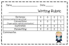 writing rubric- kindergarten