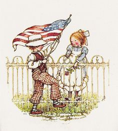 celebrating flag day together Vintage Illustration Art, Vintage Artwork, Holly Hobbie, Toot & Puddle, Fourth Of July Decor, July 4th, Old Glory, Vintage Halloween, Vintage Holiday