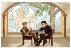 Aziraphale and Crowley, from Good Omens. This is such a great book. It's like a…
