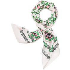Tory Burch Garden Party Silk Square Scarf (€115) ❤ liked on Polyvore featuring accessories, scarves, spring green garden party, holiday scarves, square scarves, loop scarves, floral shawl and square silk scarves