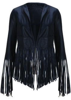 Fringe Leather Jacket, $370: Kate Moss for Topshop | Boca Raton Magazine