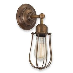 A trendy alternative to your current bed side table lamp this Handmade Caged Vintage Brass Wall Light will bring a whole new element of style to your home. Vintage brass wall lights should always be teamed with an Edison filament bulb to give a look of true authenticity. Only £59.99 with free delivery. Click http://www.nucasa.co.uk/handmade-caged-vintage-brass-wall-light/ to see more of this vintage brass wall lights #vintagelights #brasslights