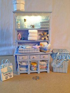 OOAK Beautiful 1/12th baby nursery dresser miniature dollhouse baby boy b,ful | eBay