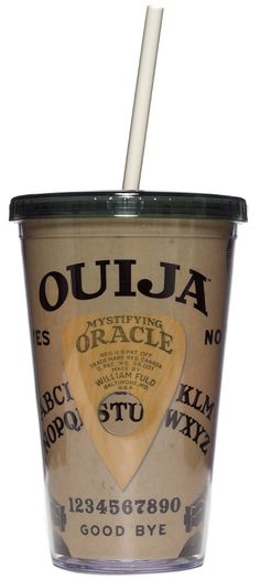 OUIJA BOARD TUMBLER Bring the spirits along in your travels with this Ouija Board Tumbler. This plastic tumbler features a secure lid and reusable straw. $12.00 #housewares #tumbler #ouija