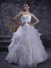 Ball Gown Strapless Beading Embroidery Organza Satin Luxury Wedding Dress - Milanoo.com