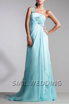 Empire sky blue one-shoulder floor-length evening dress ED-23 is unique evening dress is in the top of its color - the sky is blue, If you like the ladies of this color, this is a good choice, and then you can more your own favorite color customize y