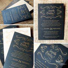 Gold Silk Screen Printed Wedding Invitation by SugarLetters1