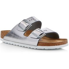 Birkenstock Arizona Metallic Two Band Slide Sandals ($145) ❤ liked on Polyvore featuring shoes, sandals, silver, slide sandals, silver sandals, birkenstock footwear, birkenstock shoes and birkenstock sandals