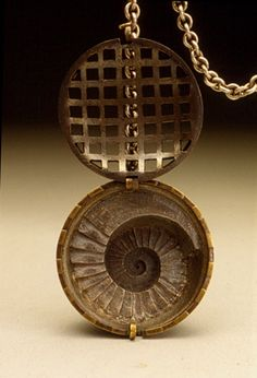 Chris Irick: A Means of Escape - detail (1994) - Sterling silver, copper, brass - Fabricated, die formed, etched and cast.