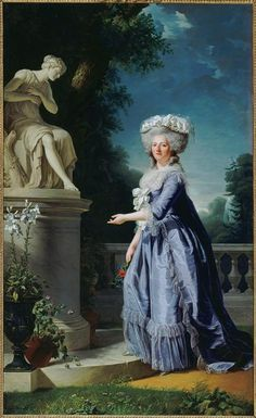 Adélaïde Labille-Guiard, Portrait of Madame Victoire standing before statue of Friendship at Bellevue, 1788, Oil on canvas, 271 x 165 cm (Versailles); set with L-G's portraits of Adélaïde and Louise-Elisabeth