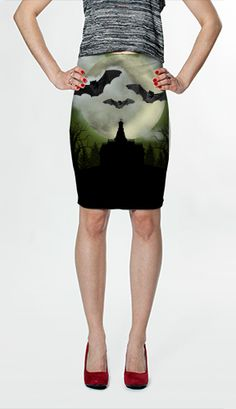Bat Green Fitted Skirt by Moonriver Clothing $36.00 AUD