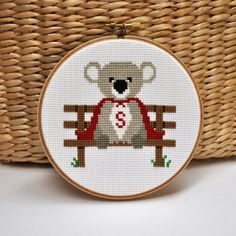 Super Koala Embroidery Hoop Art Childrens Decor Wall door Sewingseed