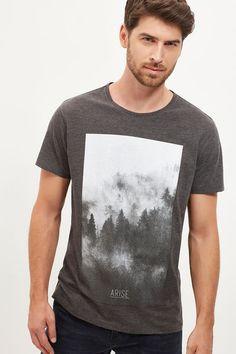 Cortefiel Printed t-shirt Dark gray