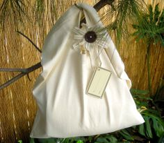 "Organic Cotton ""Oat Bag"" Gift Bag/Tote with Hand-Made Organic Flower with Vintage Tagua Nut Buttons."
