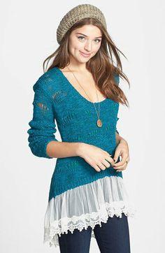 Cotton Emporium Scallop Stitch Lace Hem Sweater (Juniors) | Nordstrom on Wanelo