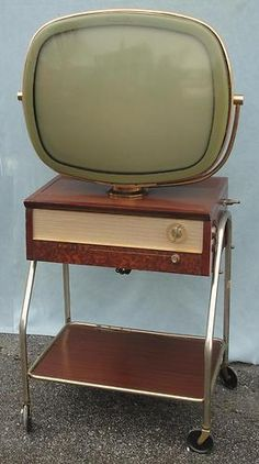 1957 Philco Predicta G 4242 TV Television w/ Roll Away Stand NR