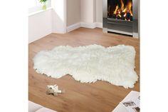 Vlněná předložka Kožešina bílá, 110 - 120 cm