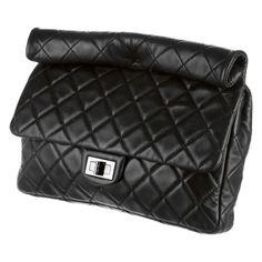 CHANEL MAXI ROLL-UP REISSUE BLACK JUMBO LAMBSKIN LEATHER QUILTED FLAP  CLUTCH BAG  35b7c6128975c