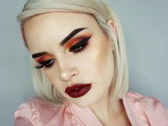 Metallic Eyeshadow and dark Lipstick