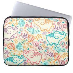 Elephants flowers pattern cartoon #laptop #sleeve #laptopsleeve #elephants #animals #flowers
