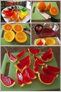 Cute little party snack. jello oranges. Colourful party snack or cake alternative.