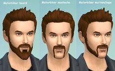 Mod The Sims - Motorbiker beard mustache and muttonchops.