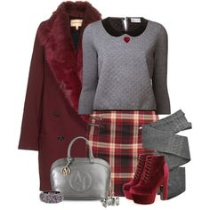 """""""Burgundy and Gray"""" by tacciani on Polyvore"""