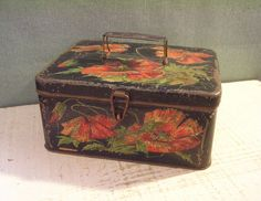 Antique Tin Box Black with Pink Flowers Latch and by tinprincess
