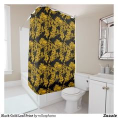 Black Gold Leaf Print Shower Curtain