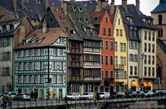 Houses along the Ile river in Strasbourg