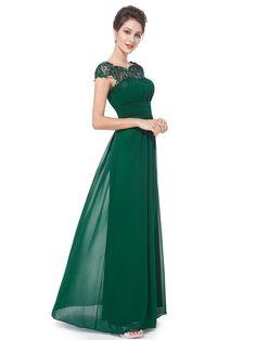 Ever Pretty Juniors Cap Sleeve Empire Waist Floor Length Prom Dress 6 US Green