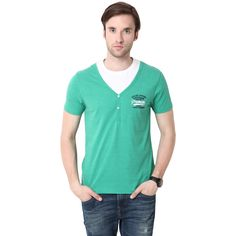 MUDO Y-Neck Solid Green Henley Tee with printed Logo on chest