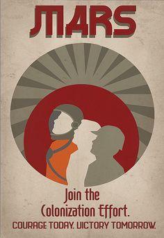 Retro Sci-fi Mars Colonization Propaganda Poster - 13x19 Print   Flickr - Photo Sharing!