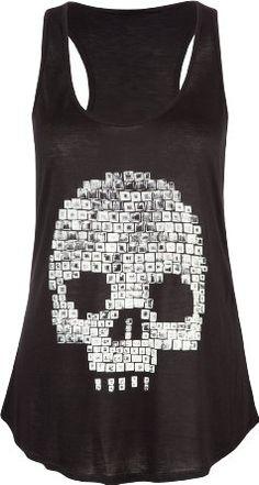 FULL TILT Nailhead Skull Womens Tank: Amazon.com: Clothing