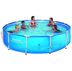 """Bestway - Steel Pro Frame Pool 366x76cm With Pump (6473L)(56416) £117.50 Need a starter pool for your little ones, but need more support than an inflatable one offers? This Bestway Steel Pro Metal Frame Round Pool at 12 ft by 30"""" comes complete with a water filter pump just like larger models."""
