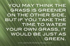 The grass is ALways greener when you water it!