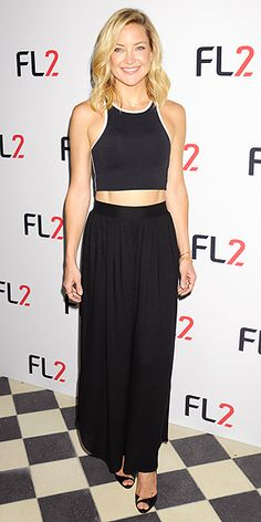 Last Night's Look: Love It or Leave It? Vote Now!   KATE HUDSON   in an abs-baring crop top, black maxi skirt and peep-toe pumps at the FL2 launch in N.Y.C.