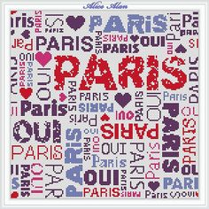 Collage of words oui Paris and the capital of France by HallStitch