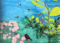 Atelier ENFANTS. Fresque printanière et nature. Des branches d'oliviers sont intégrés au décor exotique. Les oiseaux sont coloriés et collés.