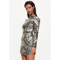 Missguided Peace + Love  High Neck Embellished Bodycon Dress ($270) ❤ liked on Polyvore featuring dresses, black, open back cocktail dress, long sleeve bodycon dress, sexy bodycon dresses, mini dress and short dresses