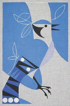 I love the way Eleanor has interpretted this bluejay. So classic and so beautiful. Great for stitches. 7.75″ x 12″ handpainted on 18ct mono. Complete with stitchguide.