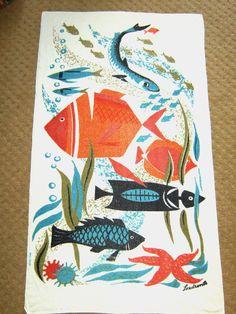 VTG MID CENTURY LARGE ATOMIC TIKI FISH ART BEACH TOWEL BLANKET EAMES MILLER ERA | eBay