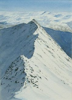 Striding Edge Helvellyn in watercolour.