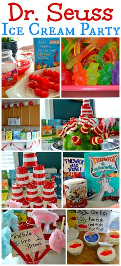 Dr Seuss Ice Cream Party ~ so many great food and decorating ideas
