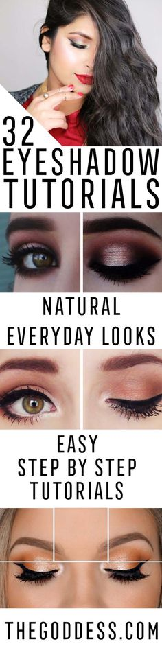 Eyeshadow Tutorials for Beginners - Step By Step Tutorial Guides For Beginners with Green, Hazel, Blue and For Brown Eyes - Matte, Natural and Everyday Looks That Are Sure to Impress - Even an Awesoem Video on a Dramatic but Easy Smokey Look - thegoddess.com/eyeshadow-tutorials-beginner